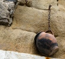 The Hanging Jar - Rough Weathered Stones, Rust and Ceramics - a Vertical View Sticker