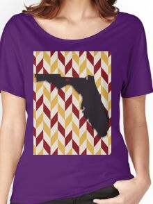 Florida State University - Chevron/State Silhouette Women's Relaxed Fit T-Shirt