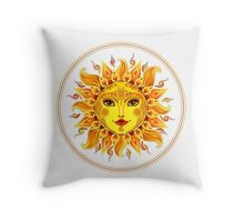 Bright colorful decorated smiling sun Throw Pillow