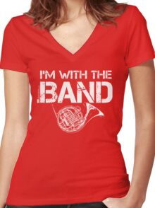 I'm With The Band - French Horn (White Lettering) Women's Fitted V-Neck T-Shirt