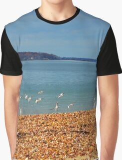 Calidris Bairdii - Baird's Sandpiper Landing On The Beach Covered With Seashells | Long Beach Point, New York Graphic T-Shirt