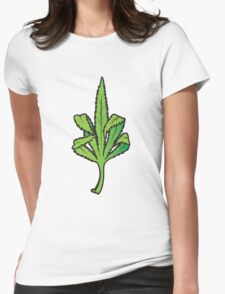 Pot Leaf Weed Middle Finger Flipping Off Womens Fitted T-Shirt