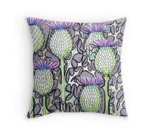 Inked Thistles Throw Pillow