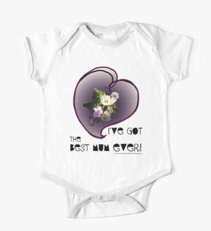 wildflower, Best Mum EVER! heart quirky One Piece - Short Sleeve