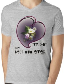 wildflower, Best Mum EVER! heart quirky Mens V-Neck T-Shirt