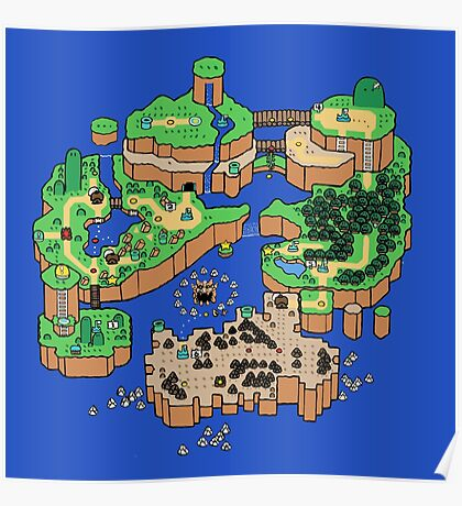 Super Mario World SNES Map Poster