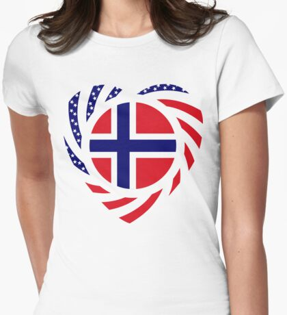Norwegian American Multinational Patriot Flag Series 2.0 Womens Fitted T-Shirt