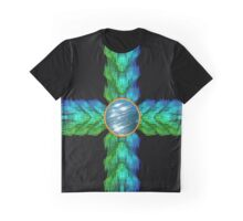 Abstract Elemental Water Cross Graphic T-Shirt