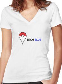 PokeGO Team Blue Women's Fitted V-Neck T-Shirt