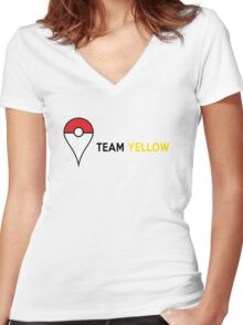 PokeGO Team Yellow Women's Fitted V-Neck T-Shirt