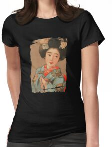 Woman in Blue Kimono (PD) Womens Fitted T-Shirt