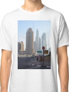 Street with tall buildings from Dubai, United Arab Emirates. Classic T-Shirt