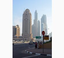 Street with tall buildings from Dubai, United Arab Emirates. Unisex T-Shirt