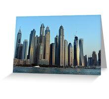 Photography of tall buildings from Dubai seen from the water, United Arab Emirates. Greeting Card