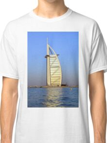 Photography of Burj al Arab Hotel from Dubai seen from the water, United Arab Emirates. Classic T-Shirt