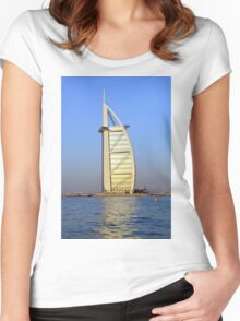 Photography of Burj al Arab Hotel from Dubai seen from the water, United Arab Emirates. Women's Fitted Scoop T-Shirt