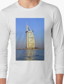 Photography of Burj al Arab Hotel from Dubai seen from the water, United Arab Emirates. Long Sleeve T-Shirt