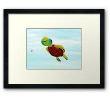 Happy turtle kite flying Framed Print