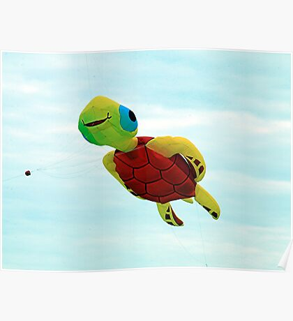 Happy turtle kite flying Poster