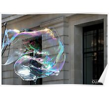 Colorful water bubble in front of classical facade building. Poster