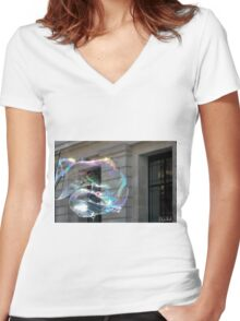 Colorful water bubble in front of classical facade building. Women's Fitted V-Neck T-Shirt