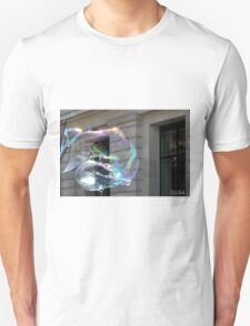 Colorful water bubble in front of classical facade building. Unisex T-Shirt