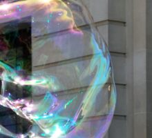 Colorful water bubble in front of classical facade building. Sticker