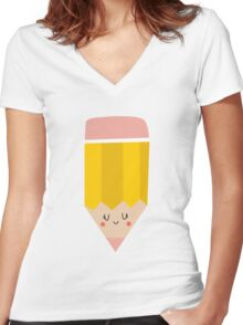 Lovely girly drawing pencil Women's Fitted V-Neck T-Shirt