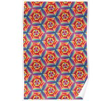 hypnotizing abstract hexagon patterns, vivid colors Poster