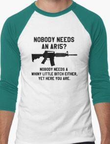 Nobody needs an AR 15 black design Men's Baseball ¾ T-Shirt