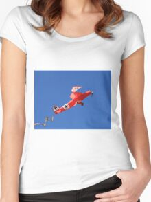 Red Baron biplane kite Women's Fitted Scoop T-Shirt