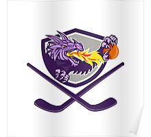 Dragon Fire Ball Hockey Stick Crest Retro Poster
