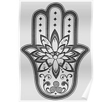Hamsa Hand Eye Lotus Flower - Grey Poster