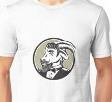 Goat Beard Tuxedo Circle Woodcut Unisex T-Shirt