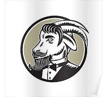 Goat Beard Tuxedo Circle Woodcut Poster