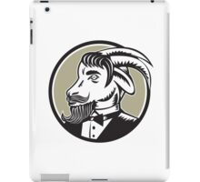 Goat Beard Tuxedo Circle Woodcut iPad Case/Skin