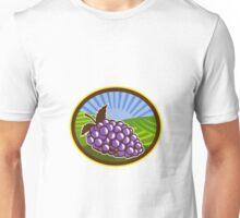 Grapes Vineyard Farm Oval Woodcut Unisex T-Shirt