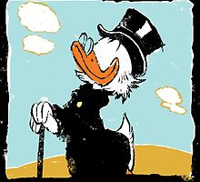 Uncle Scrooge on landscape by Alberto Marinelli