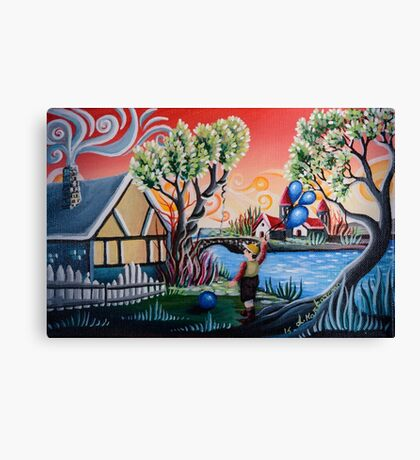 Child games on the farm. Canvas Print