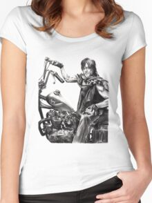 Daryl on his motorcycle Women's Fitted Scoop T-Shirt