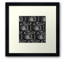 Hand drawn white cameras Framed Print