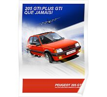 Peugeot 205 GTI Classic Car Advert Poster
