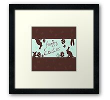 a happy Easter with bunnies,vector illustration Framed Print