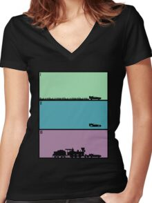 Back to the Future Trilogy Women's Fitted V-Neck T-Shirt
