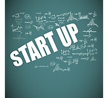 Start Up Fly Entrepreneur Sketchy Graphic T-shirt Design Photographic Print