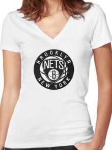 Brooklyn Nets Logo nba new york Women's Fitted V-Neck T-Shirt