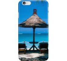 Beach umbrella and recliners, Bali, Indonesia. iPhone Case/Skin