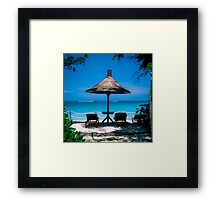 Beach umbrella and recliners, Bali, Indonesia. Framed Print