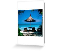 Beach umbrella and recliners, Bali, Indonesia. Greeting Card