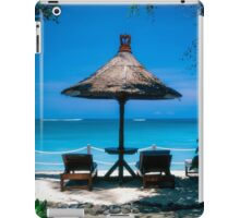 Beach umbrella and recliners, Bali, Indonesia. iPad Case/Skin